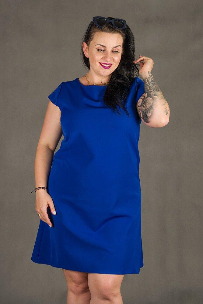Chabrowa Sukienka FINESTRA Rozkloszowana Plus Size