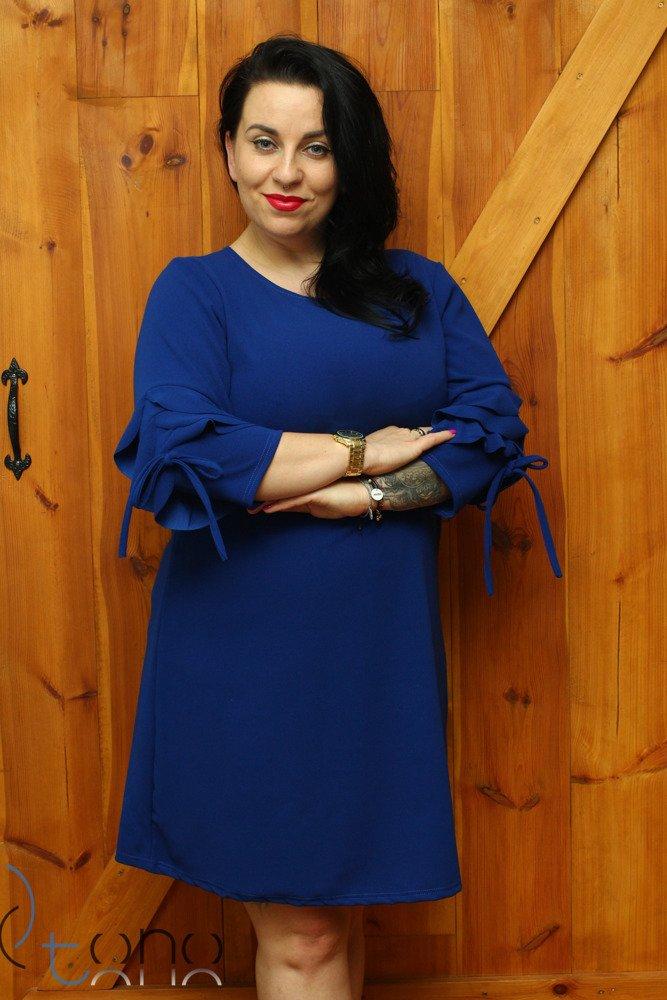 Chabrowa Sukienka LARNAKA Modna Unikalny Rękaw Plus Size
