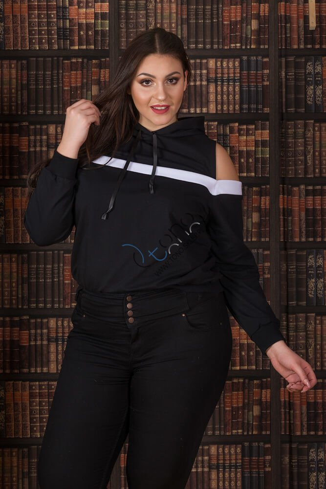 Czarna Bluza damska AKILA Designerska Size Plus