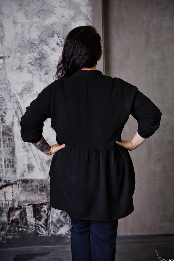 Czarna Bluzka PUNTA Plus Size