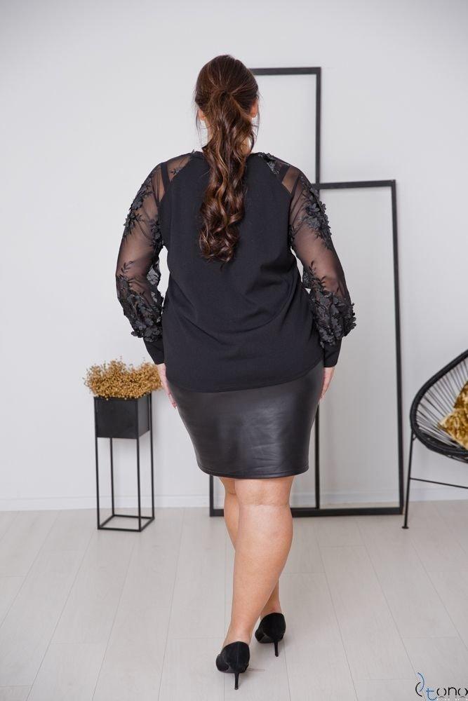 Czarna Bluzka RELIA Plus Size Kwiaty