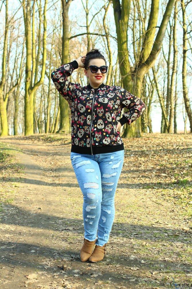 Czarna Bomberka Plus Size kurtka damska PRIMAVERA