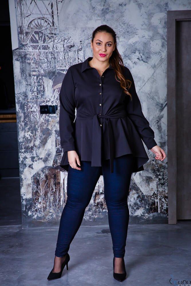Czarna Koszula damska LANICA Plus Size