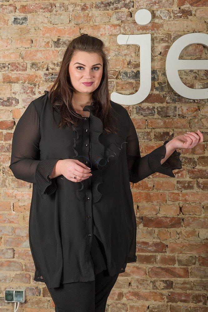 Czarna Koszula damska LOVRES Żabot Plus Size