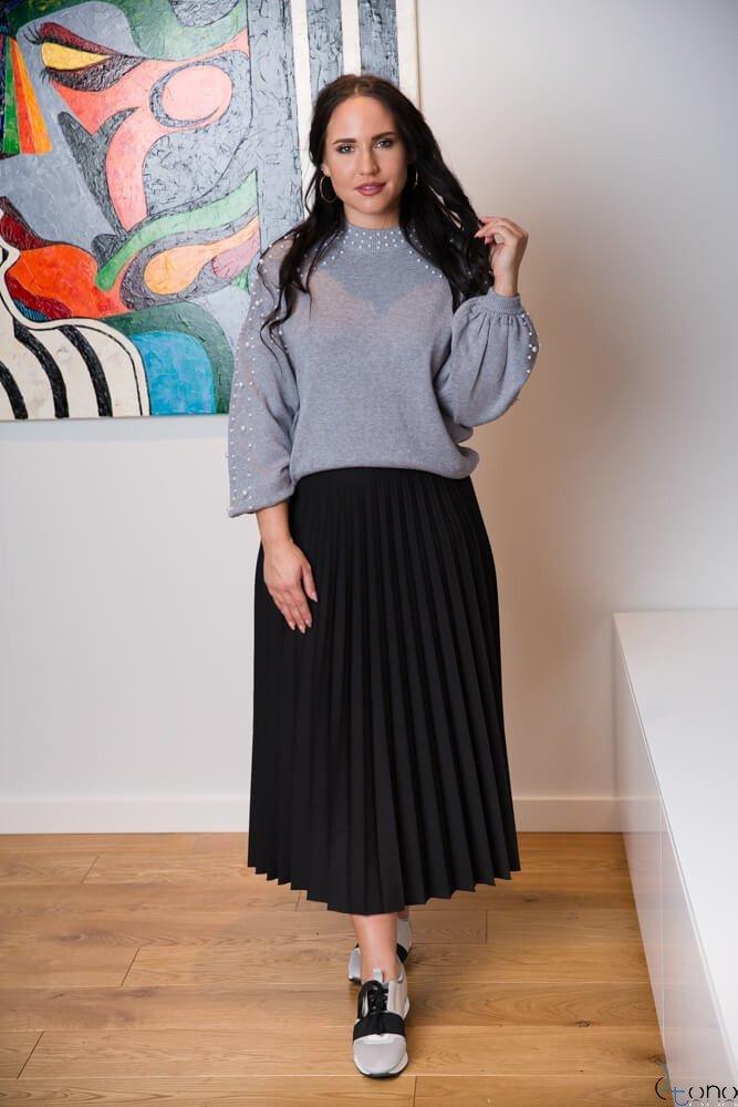 Czarna Spódnica CARAMELLA Plisowana Plus Size