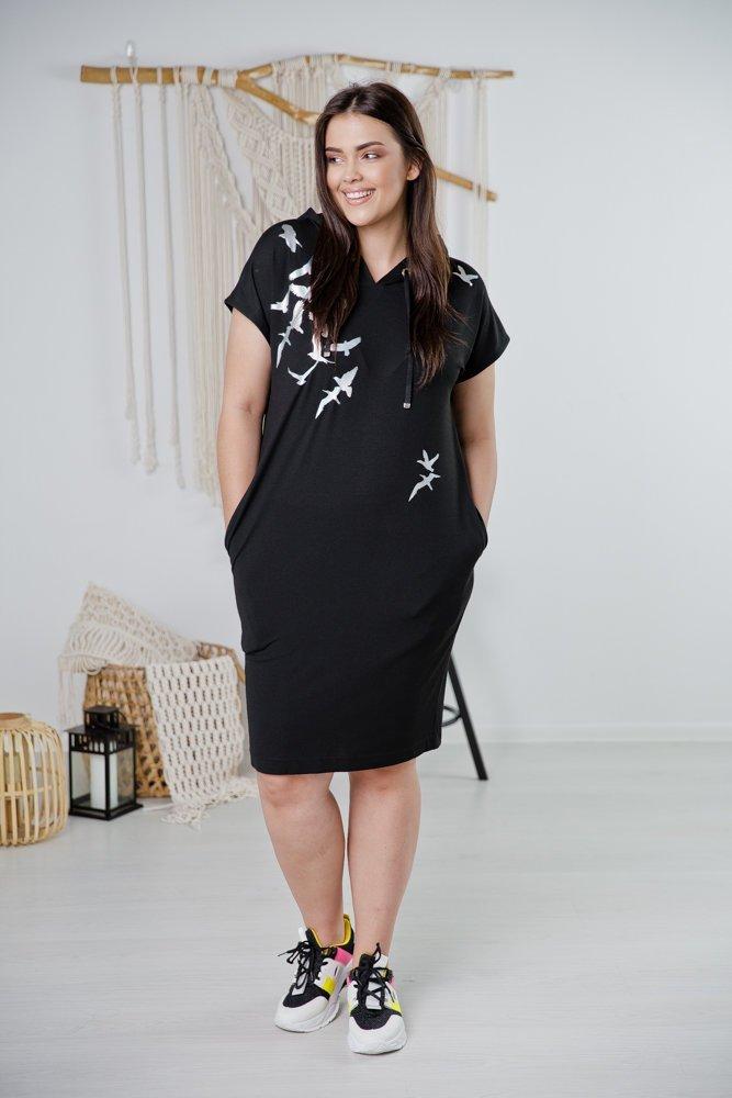 Czarna Sukienka BIRDI Plus Size Wzór 2