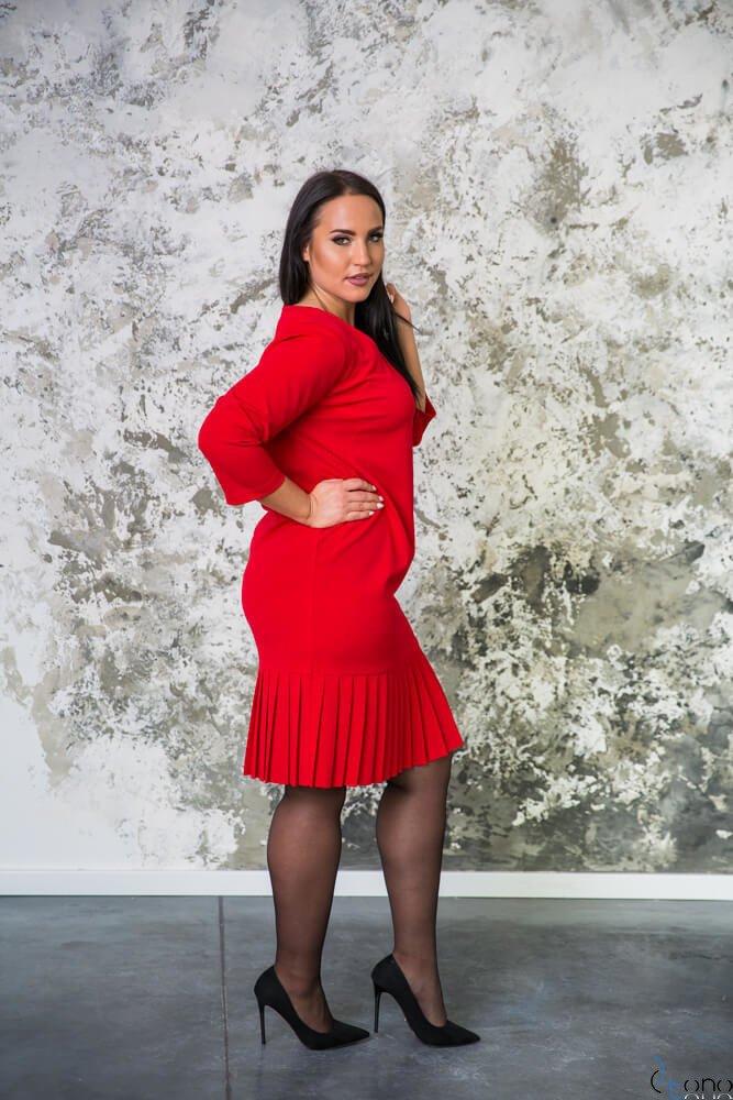 Czerwona Sukienka CAMEA Plus Size