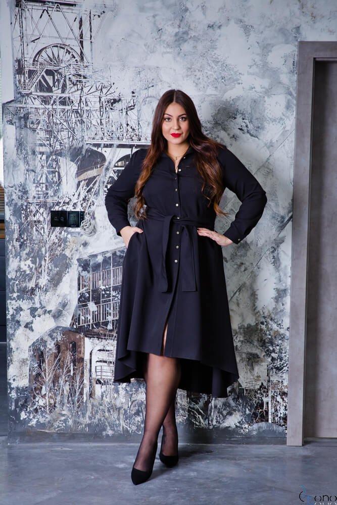 Czarna Sukienka CELINE Szmizjerka Plus Size