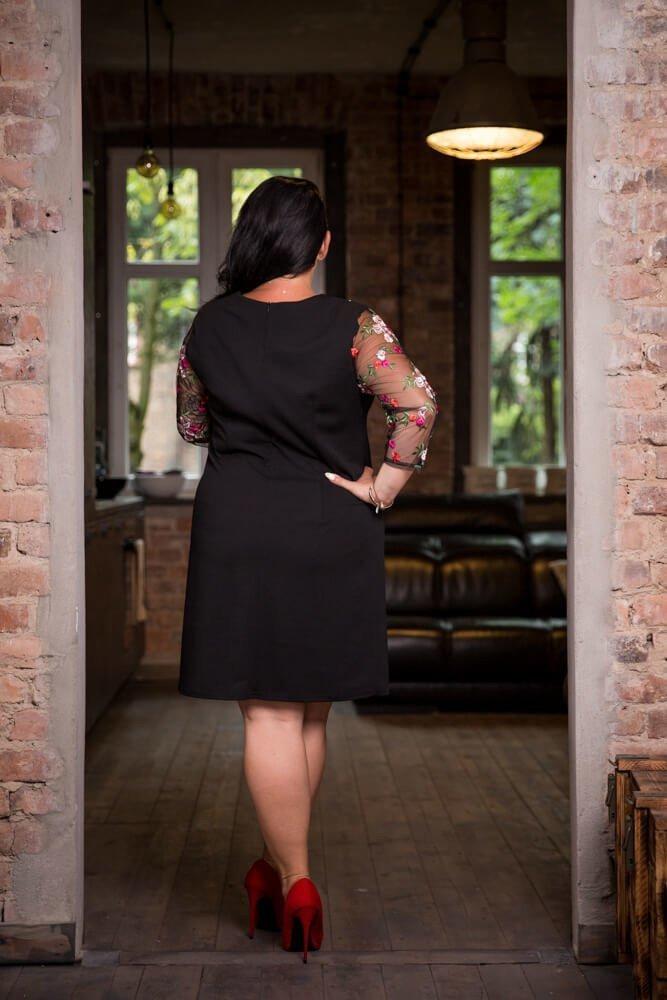 Czarna Sukienka EDITH Haftowana Tiul Elegancka