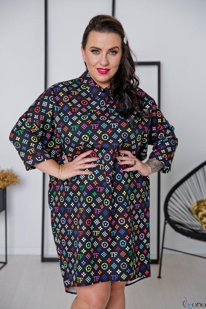 Czarna Sukienka NAVITA Plus Size Wzór 1