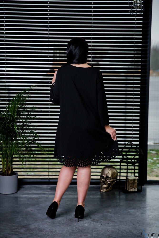 Czarna Sukienka STOFFA Plus Size