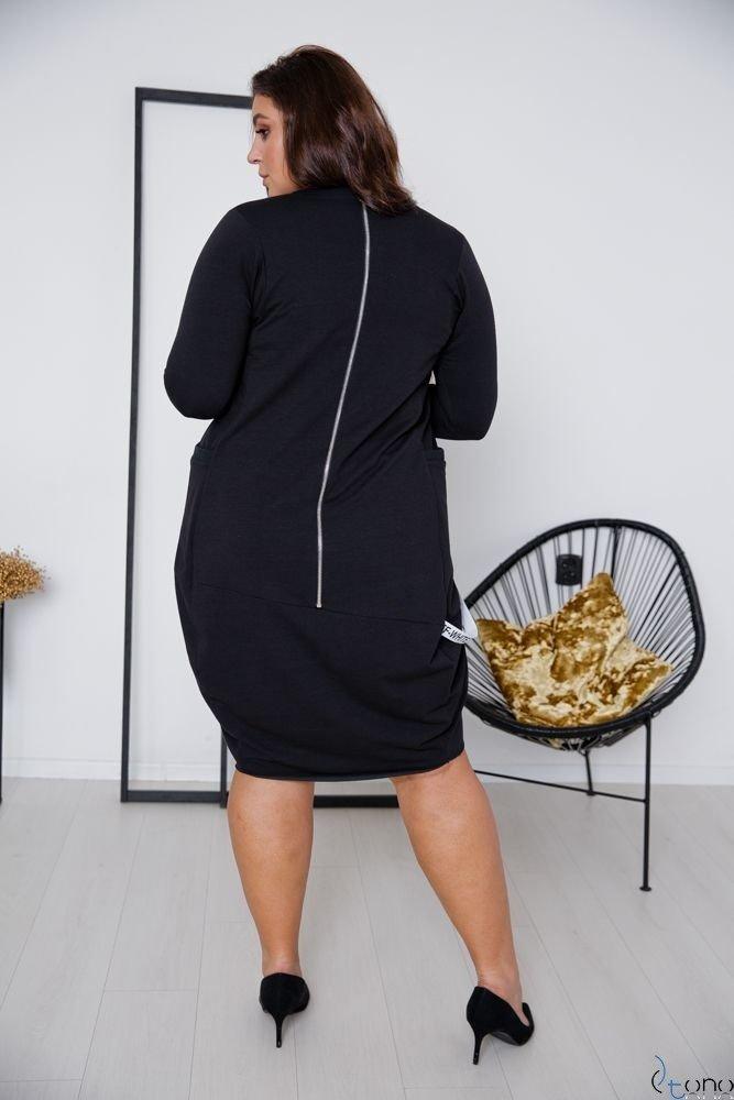 Czarna Sukienka SYSTEM Plus Size