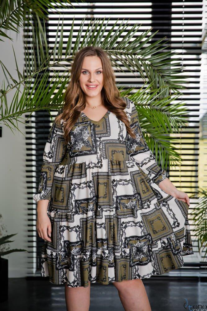 Zielono-Biała Sukienka TIFANY Plus Size