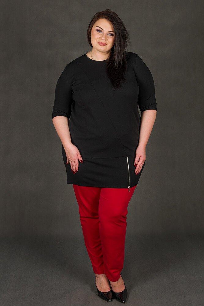 Czarna Tunika MIRANDA Plus Size Zip