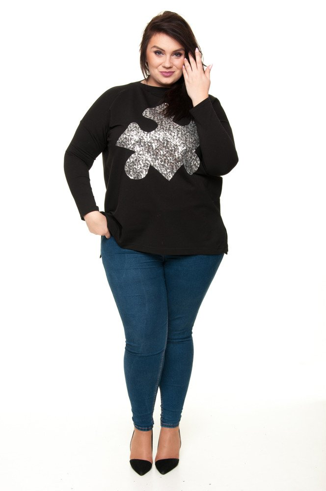 Czarna Tunika PUZZLE Size Plus Cekiny