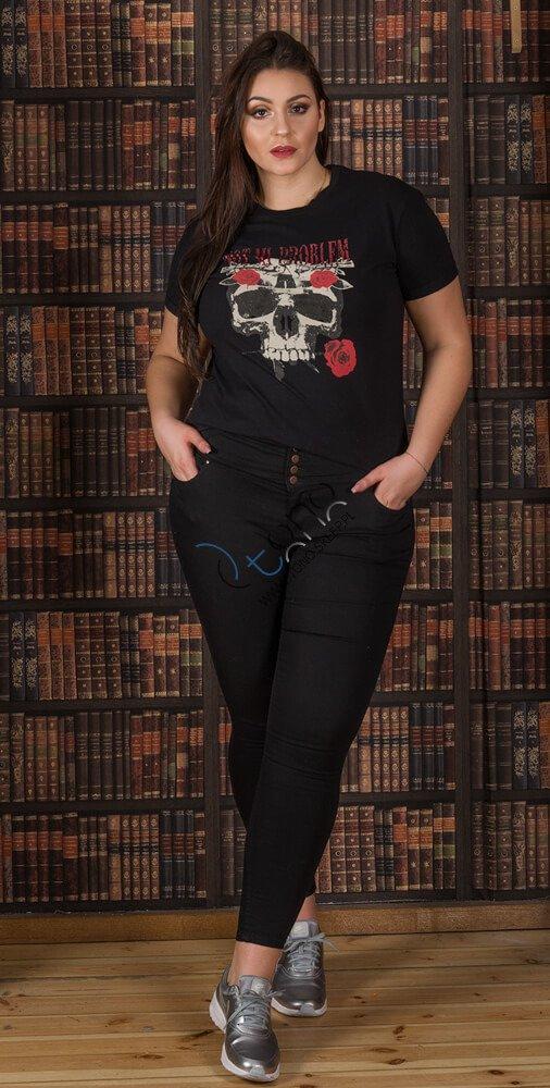 Czarna bluzka damska PLAIN T-shirt XXL