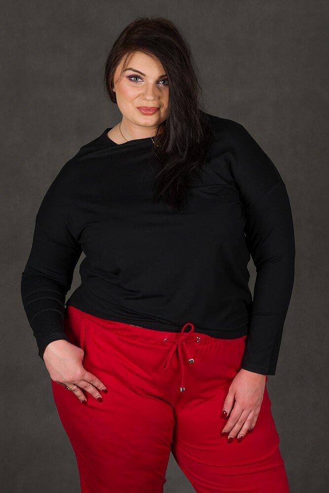 Czarna bluzka damska REBEKA Duże rozmiary Asymetryczna