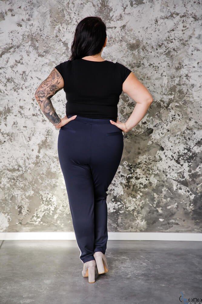 Granatowe Spodnie VENE Lampas plus Size