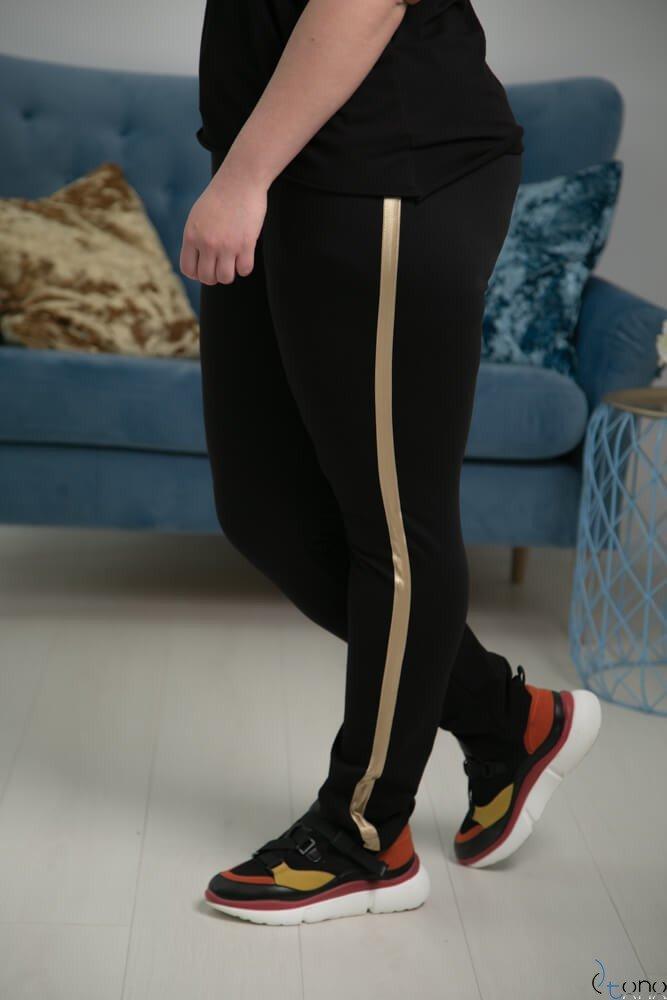 Czarne-Złote Spodnie JERSEY Lampas Plus Size