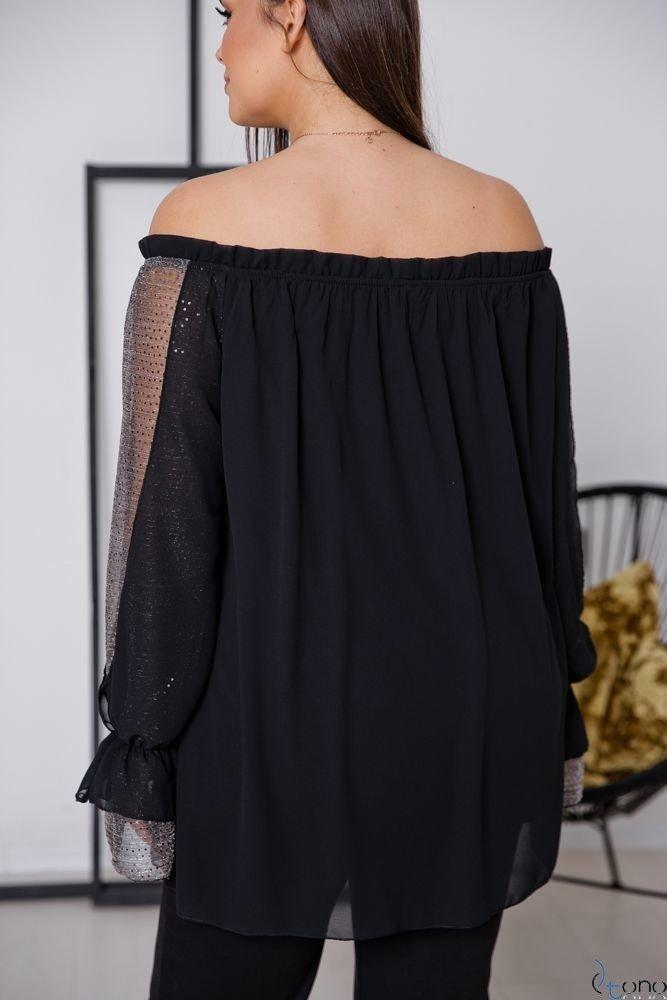 Czarno-Srebrna Bluzka KERSTY Plus Size