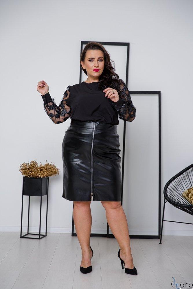 Czarno-Srebrna Bluzka MERALES Plus Size