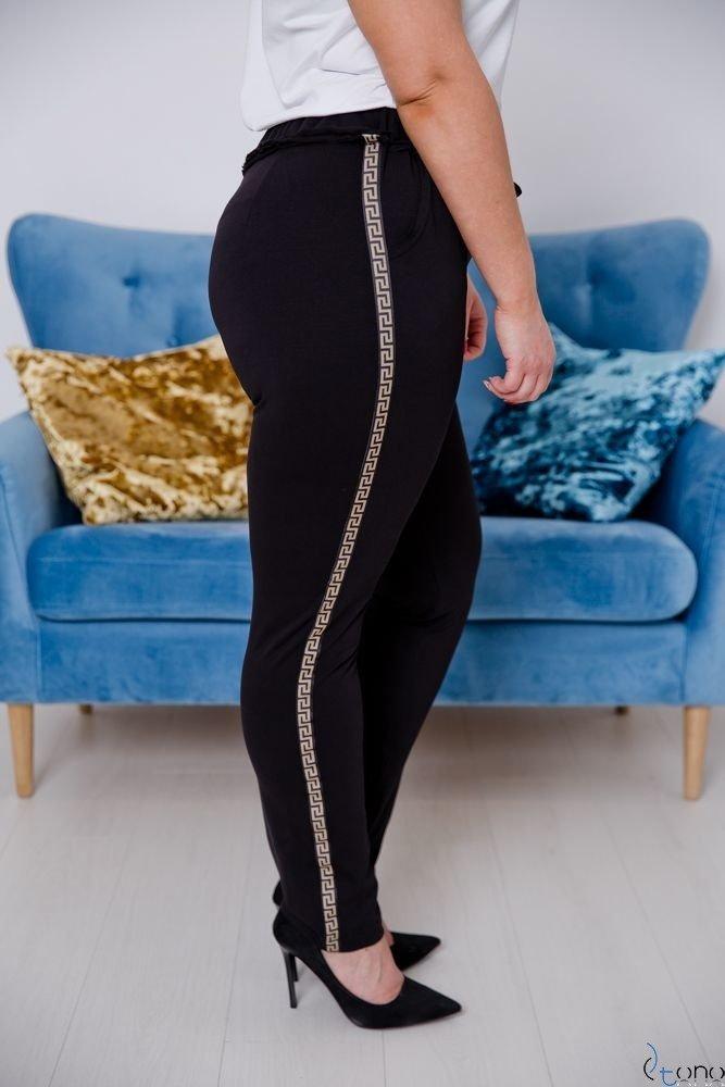 Czarno-Złote Spodnie JERSEY Lampas Plus Size