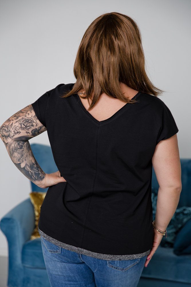 Czarno-srebrna Bluzka TIARA Plus Size