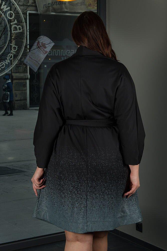 Czarny Płaszcz DUNAS Designerski Oversize