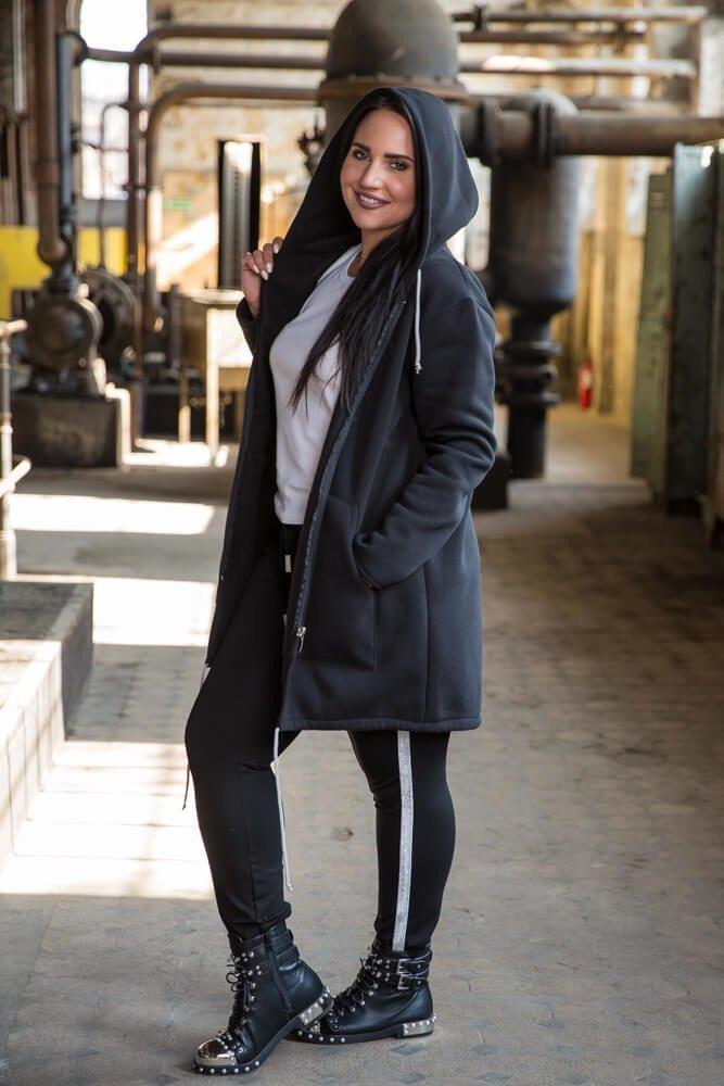 Czarny Płaszcz damski FERTILLA Dresowy Plus Size