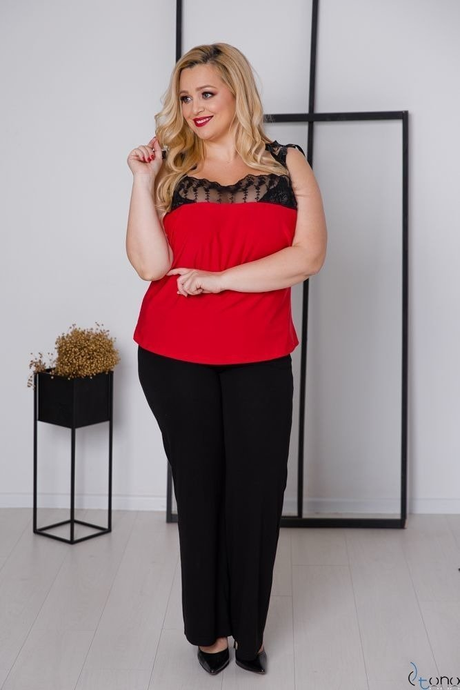 Czerwona Bluzka BEVIA Plus Size