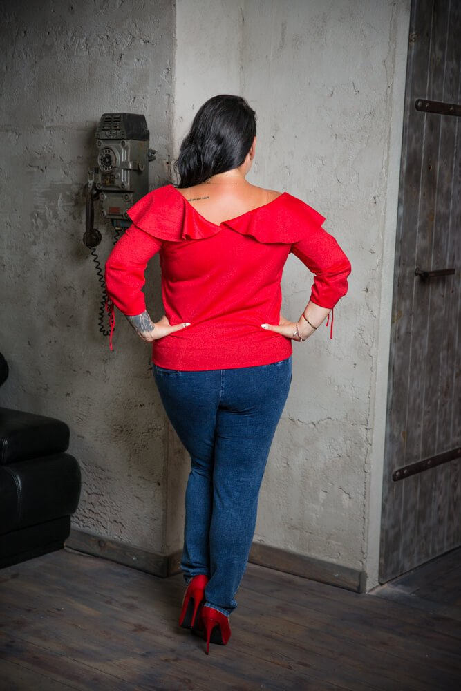 Czerwona Bluzka FALDA Plus Size Falbana