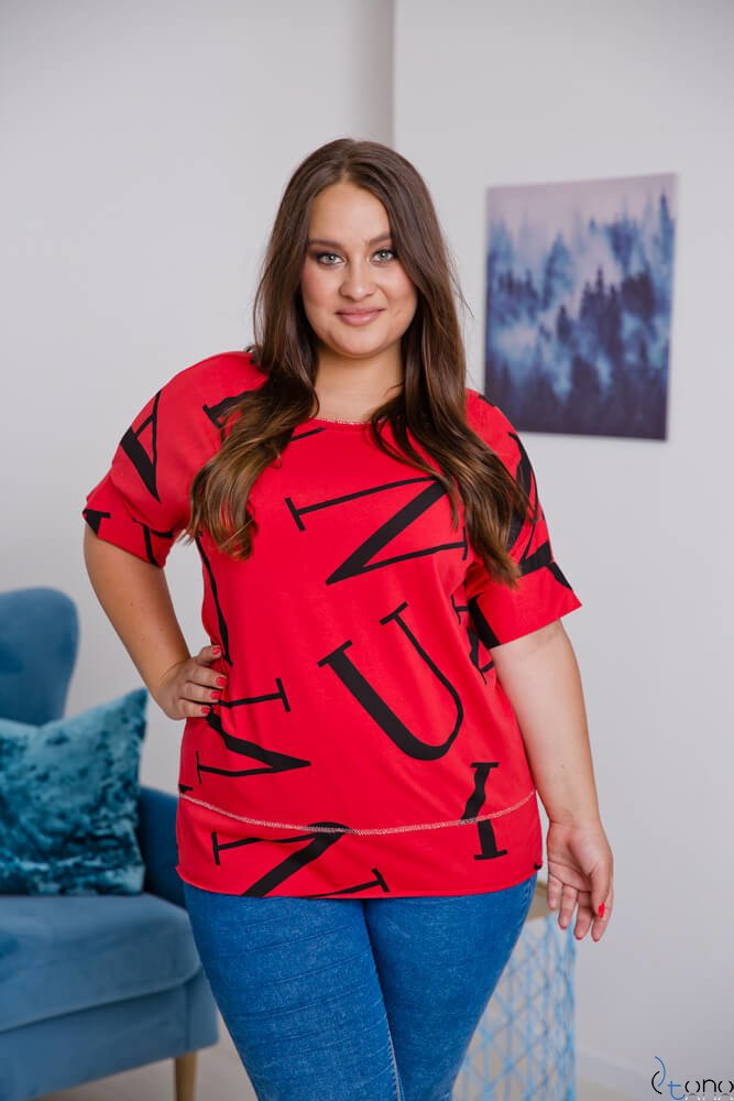 Czerwona Bluzka VICTIVA Plus Size