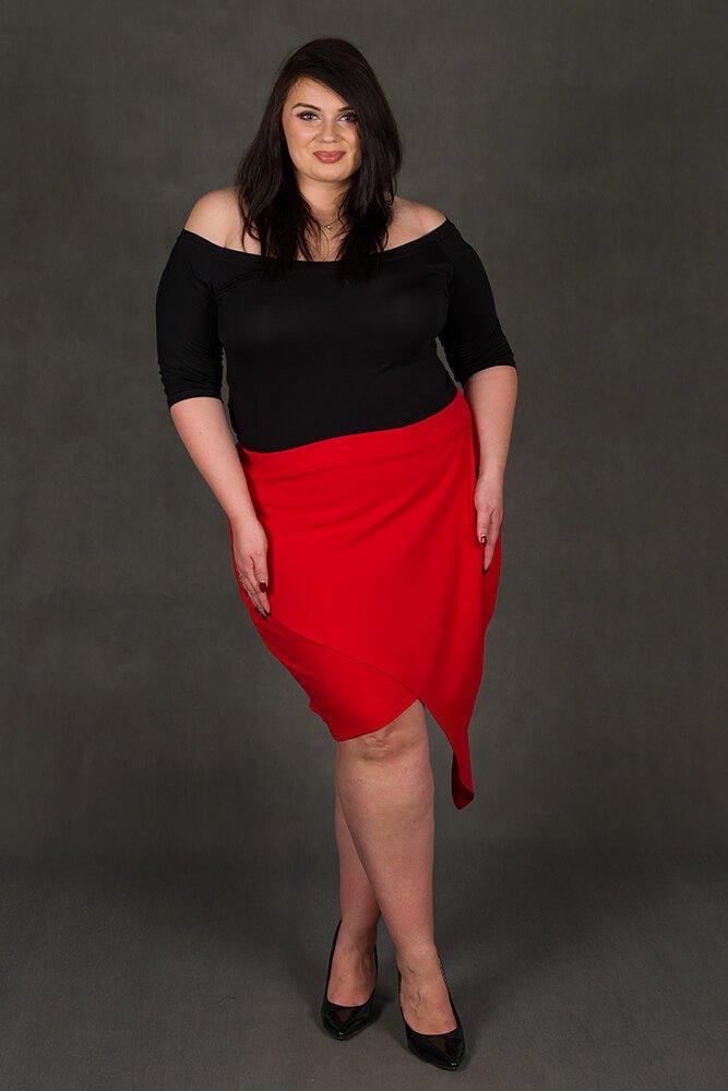 Czerwona Spódnica damska Plus Size SENTIDA Asymetryczna