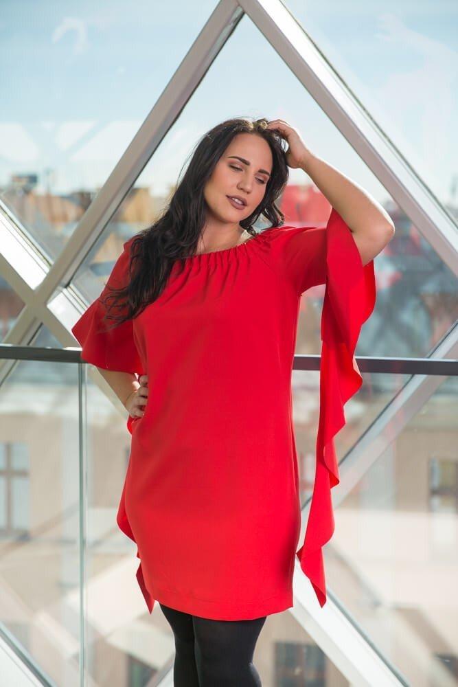 Czerwona Sukienka ALYSS Plus Size Wizytowa