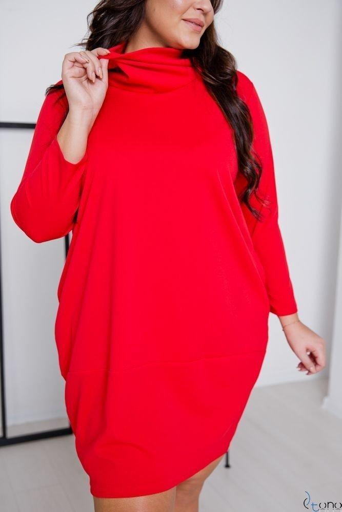 Czerwona Sukienka BENICA Plus Size