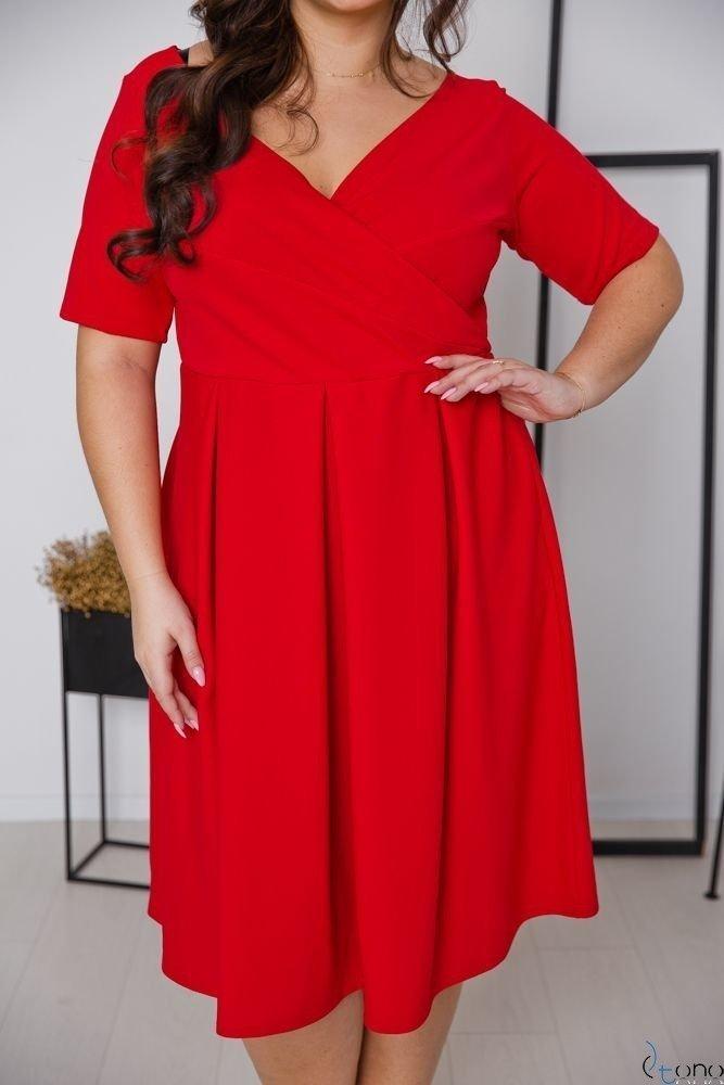 Czerwona Sukienka FALON Plus Size