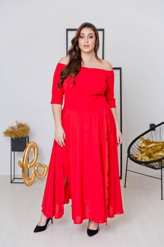 Czerwona Sukienka FAVERA Plus Size