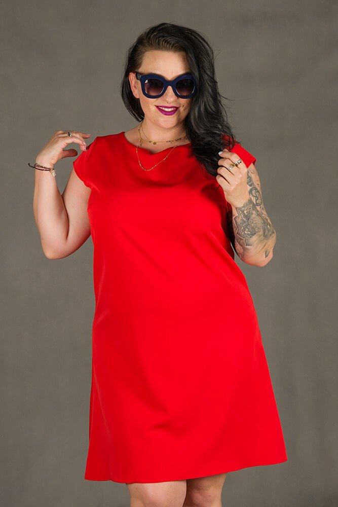 Czerwona Sukienka FINESTRA Rozkloszowana Plus Size