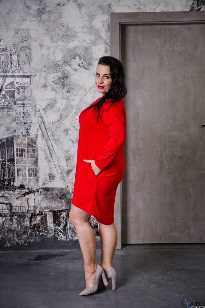 Czerwona Tunika RAMSEY Plus Size