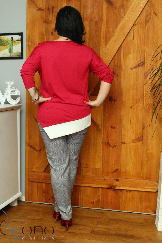 Czerwona bluzka damska DANICA Designerska Skos Plus Size