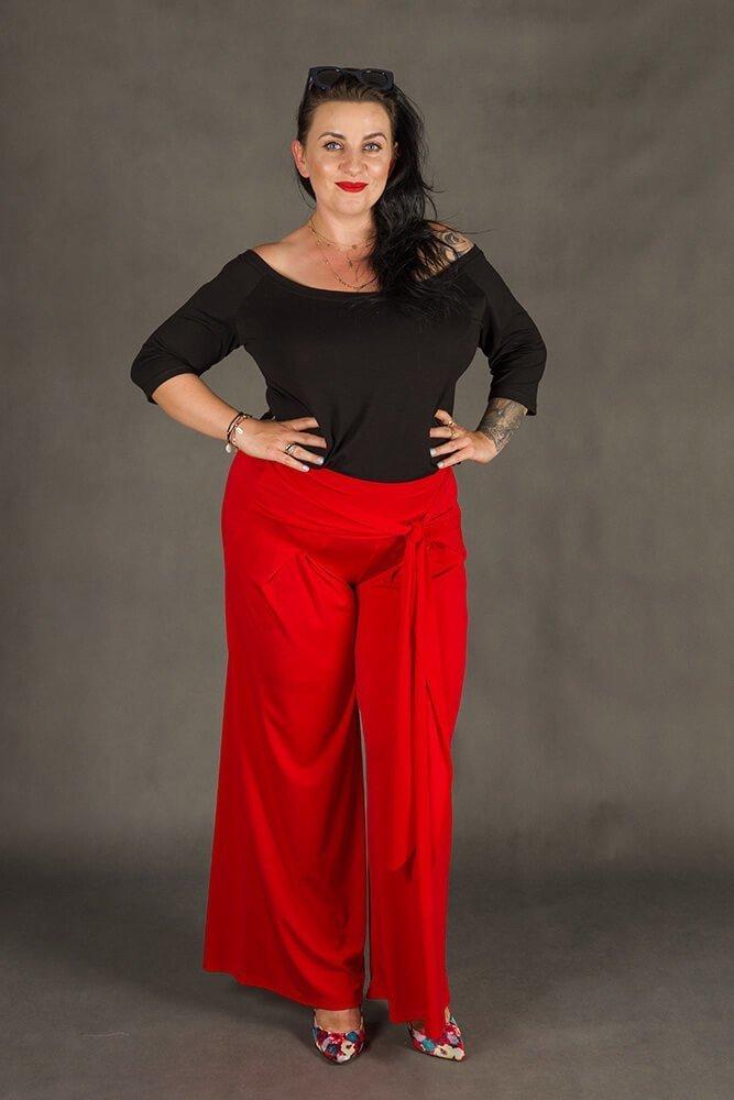 Czerwone Spodnie damskie BACCIO Rozkloszowane Plus Size