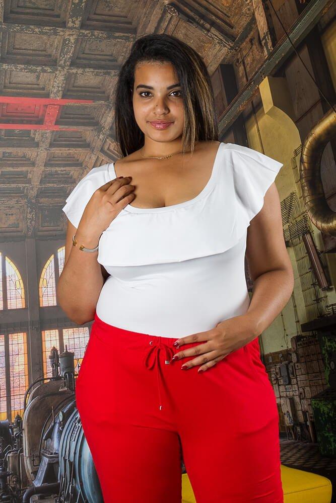 Czerwone Spodnie damskie MILENA Plus Size wygodne