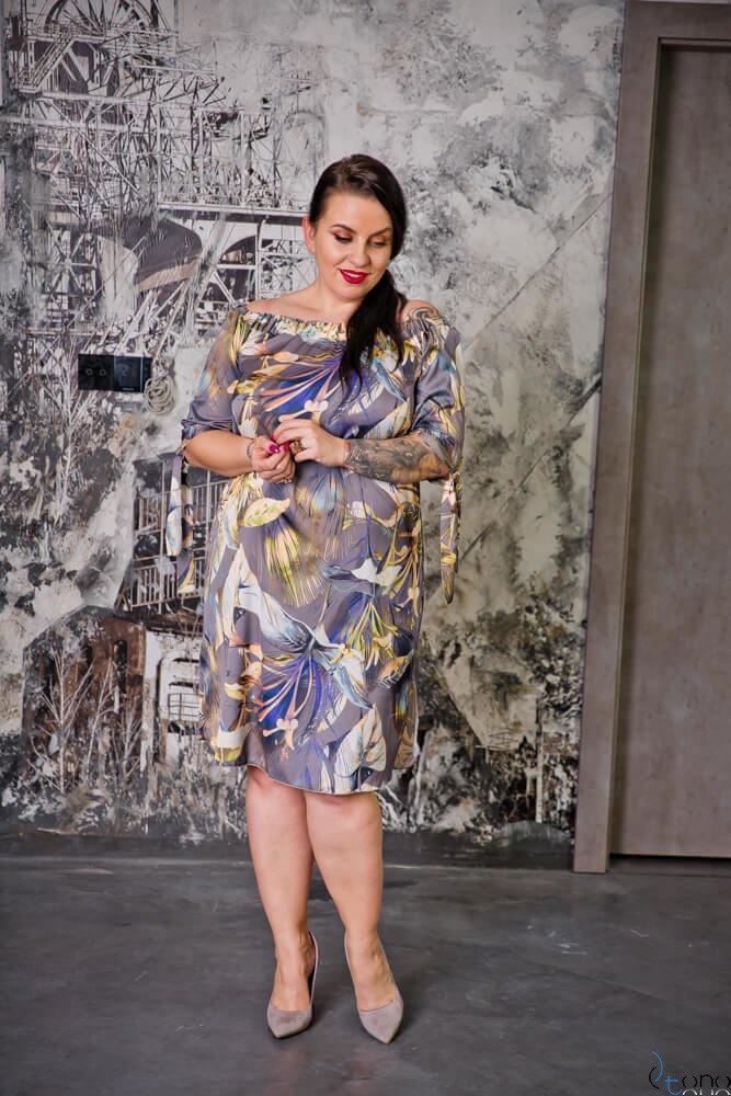 Fioletowa Sukienka VALENCIA Hiszpanka Plus Size