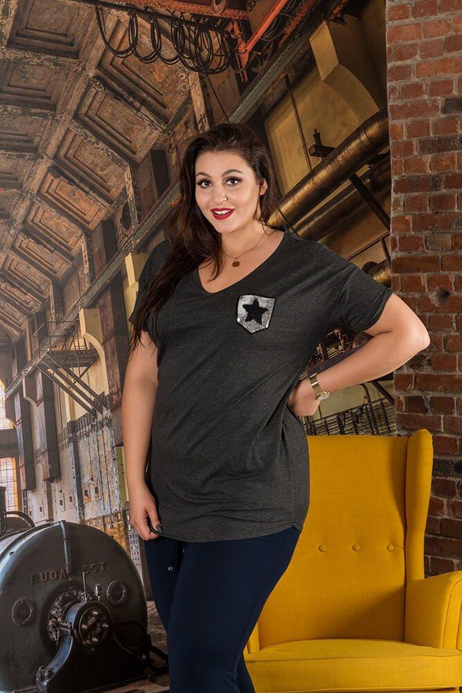 Grafitowa Bluzka MAGIC T-shirt Plus Size