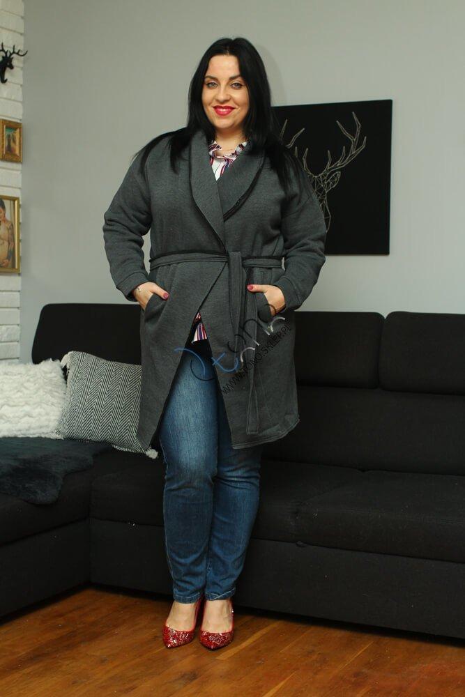Grafitowy Płaszcz damski dresowy BOLLY Casual XL
