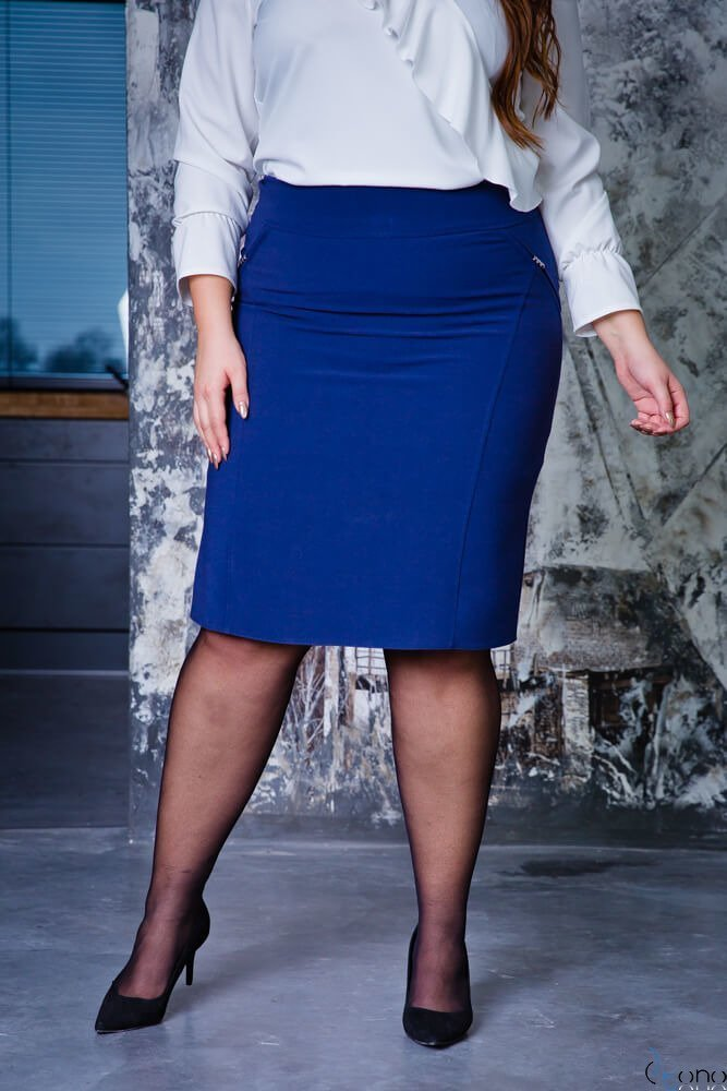 Granatowa Spódnica BEVI Plus Size  Ołówkowa