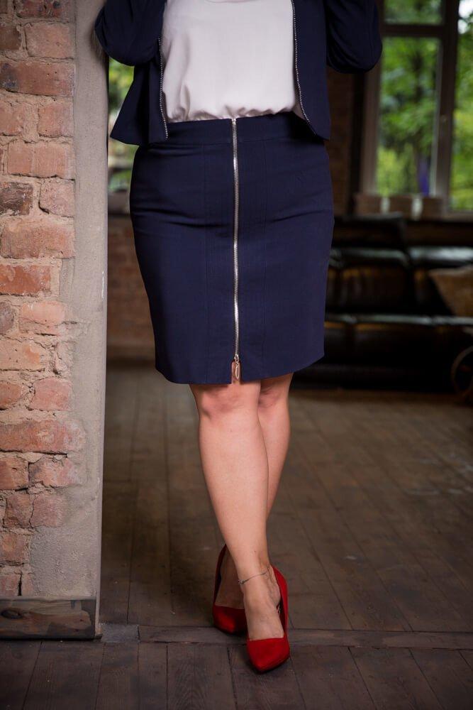 Granatowa Spódnica DOLLY Plus Size Ołówkowa