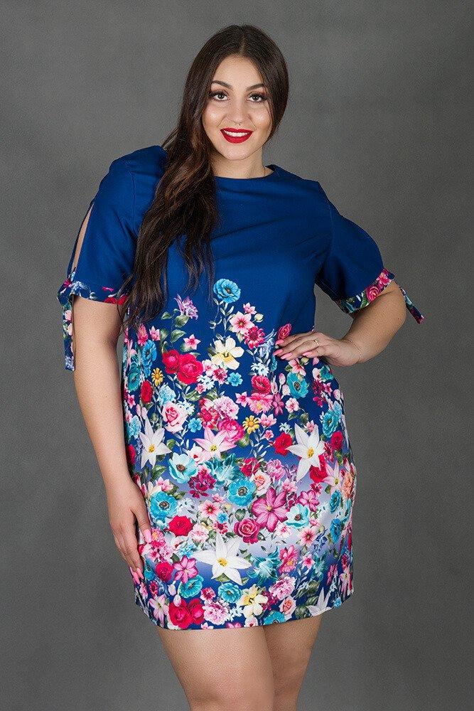 Granatowa Sukienka AMADA Plus Size Kwiaty
