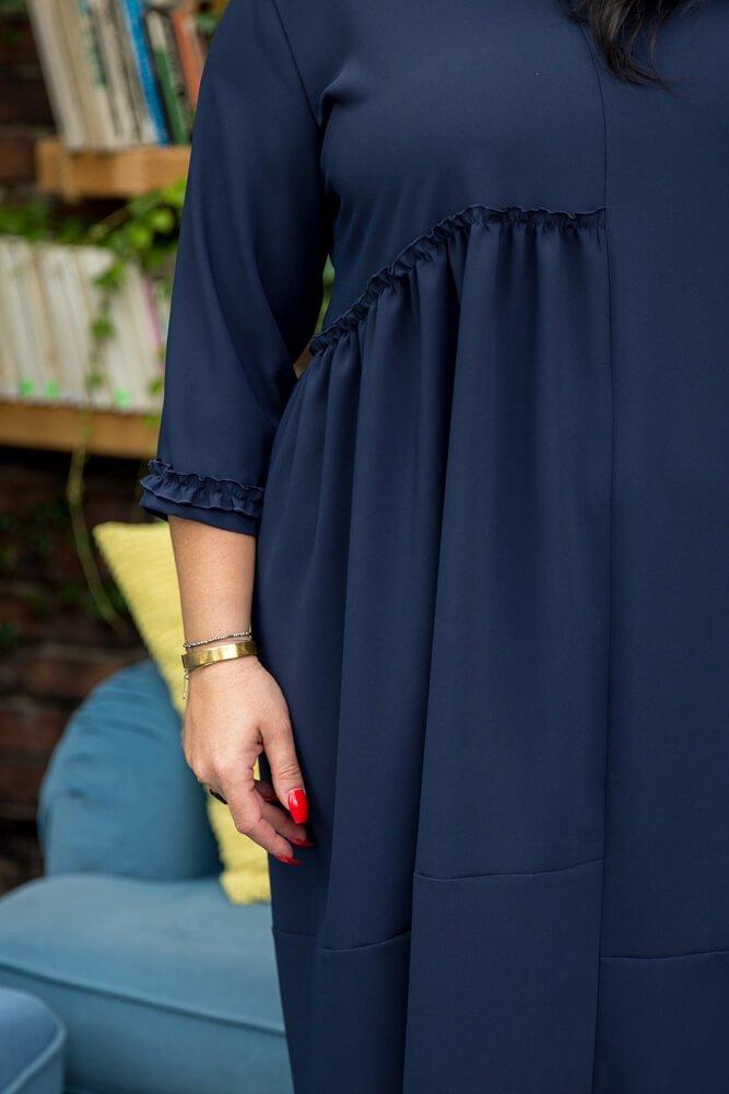 Granatowa Sukienka ANICA Plus Size