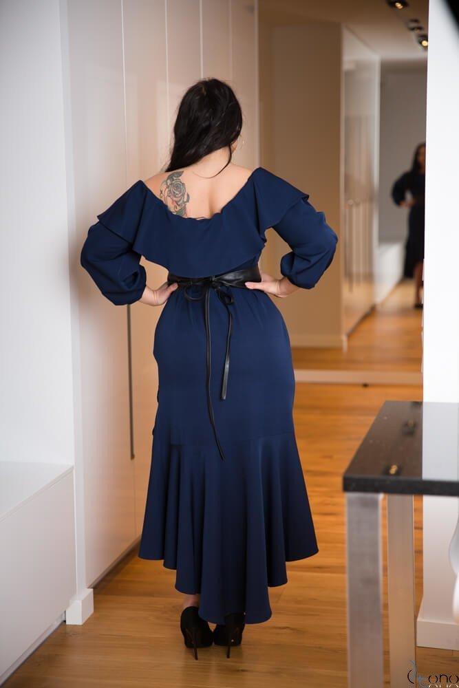 Granatowa Sukienka LUSJA Hiszpanka Plus Size
